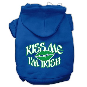 Kiss Me I'm Irish Screen Print Pet Hoodies Blue Size Lg (14)